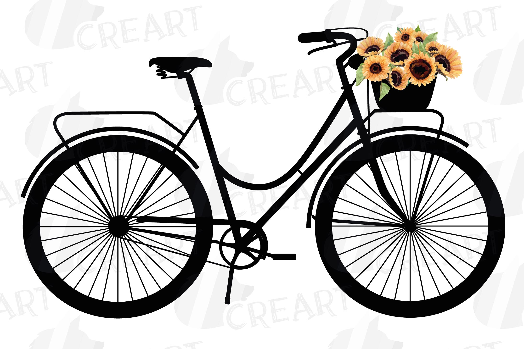 Sunflower bouquets bicycles clip art. Floral bikes decor png example image 3