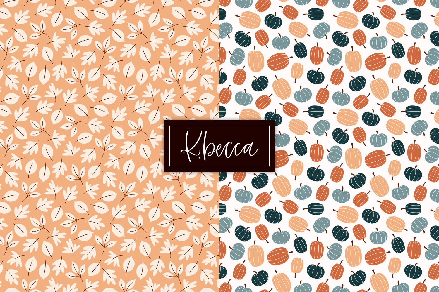 Fall Leaves & Pumpkins Background Patterns Seamless example image 2