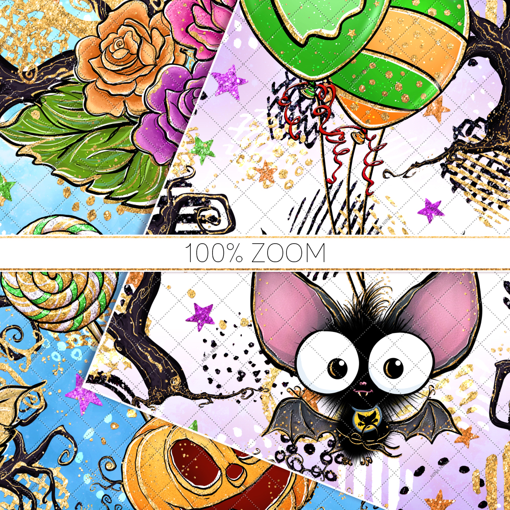 Cute Halloween Seamless Patterns, Bats Digital Papers Pack example image 6