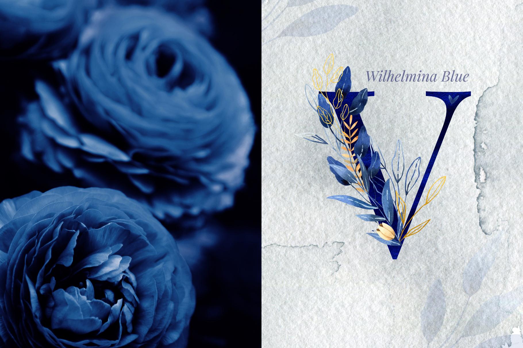 Deep Blue Alphabet Watercolor Design Kit example image 6