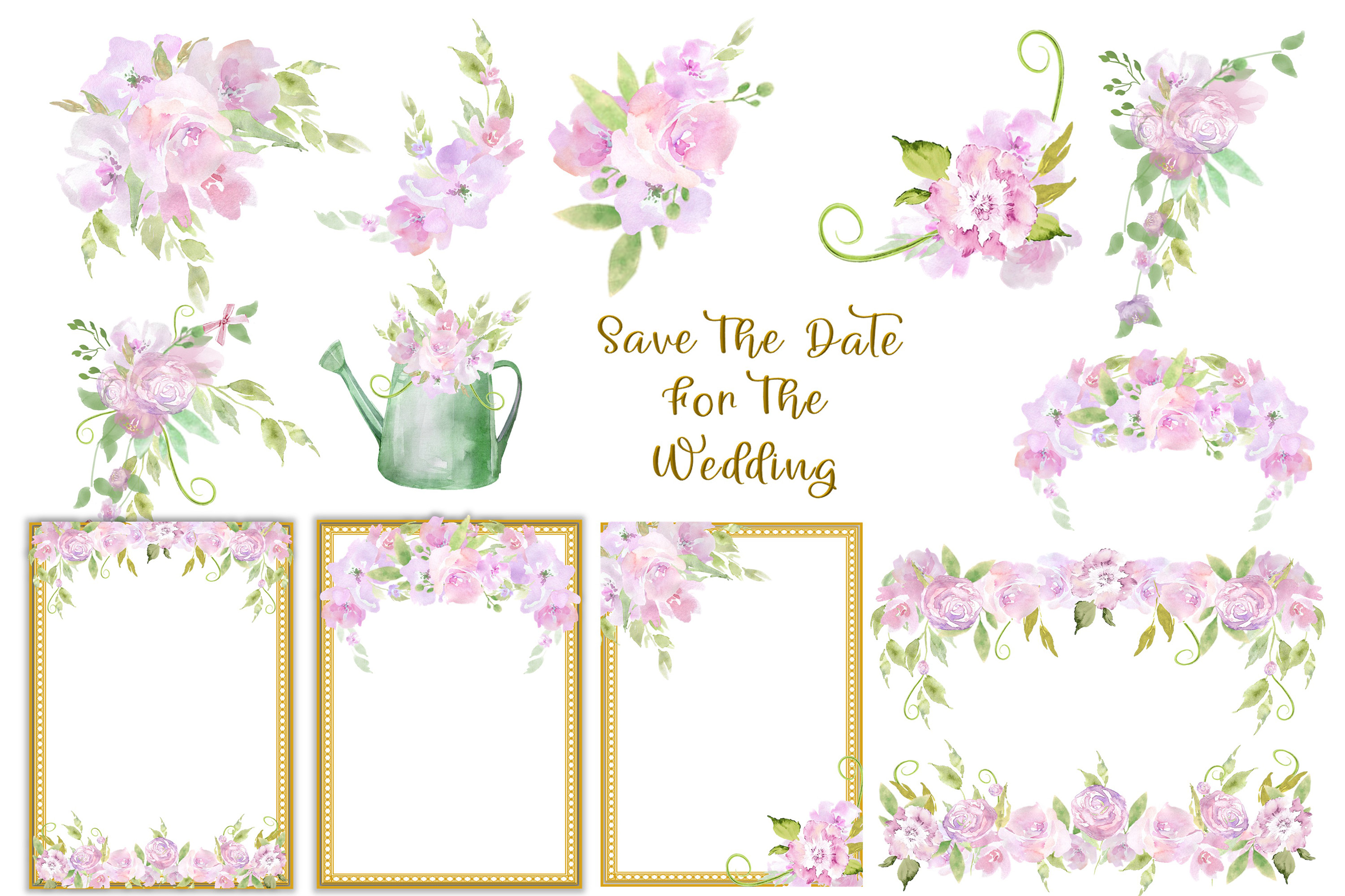 Water colour Wedding Flowers CLipart Kit Commercial Use example image 2
