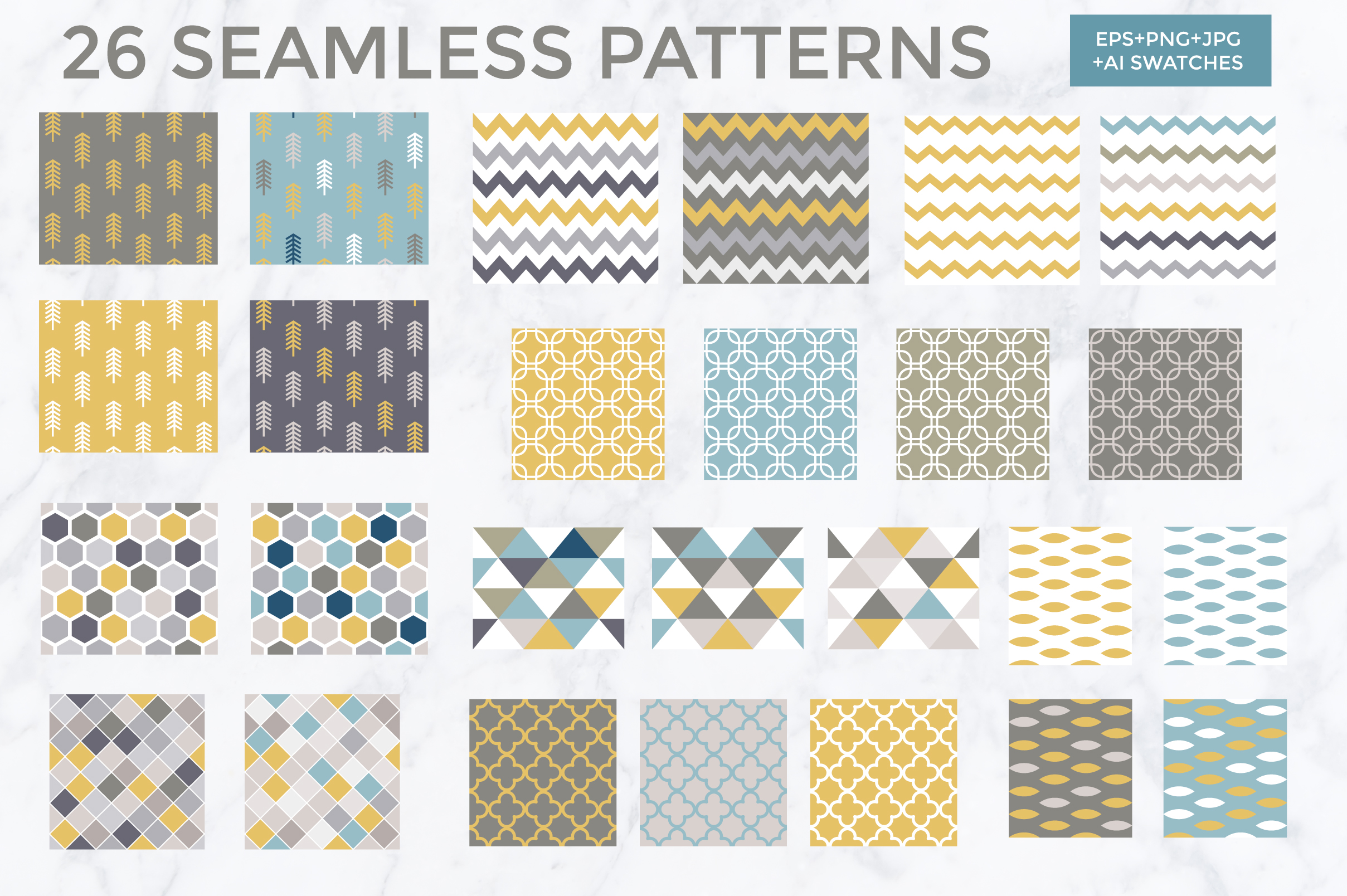 26 vector patterns Trendy Colors example image 3