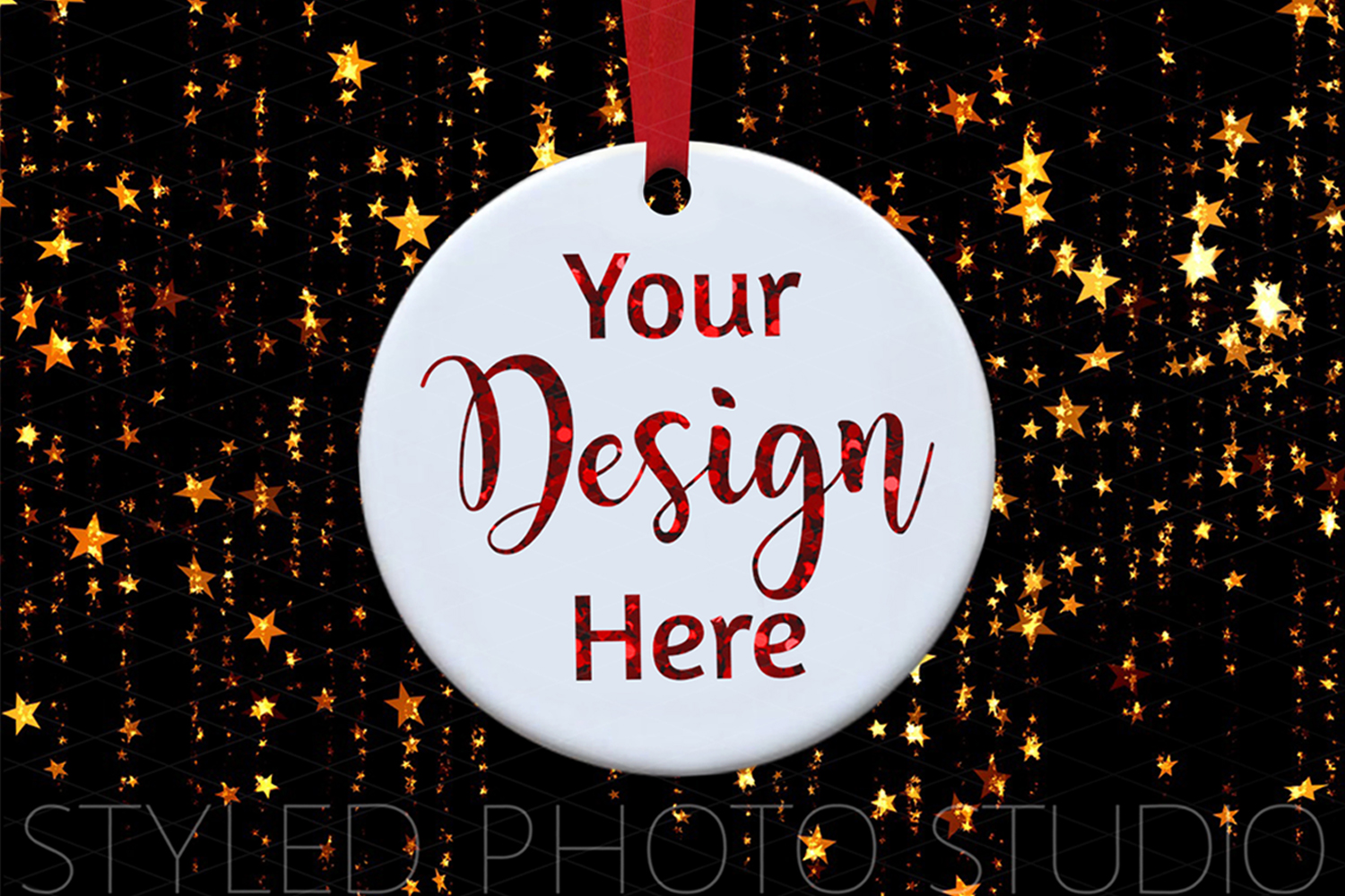 Ceramic Christmas Ornament Mockup with Gold Stars example image 2