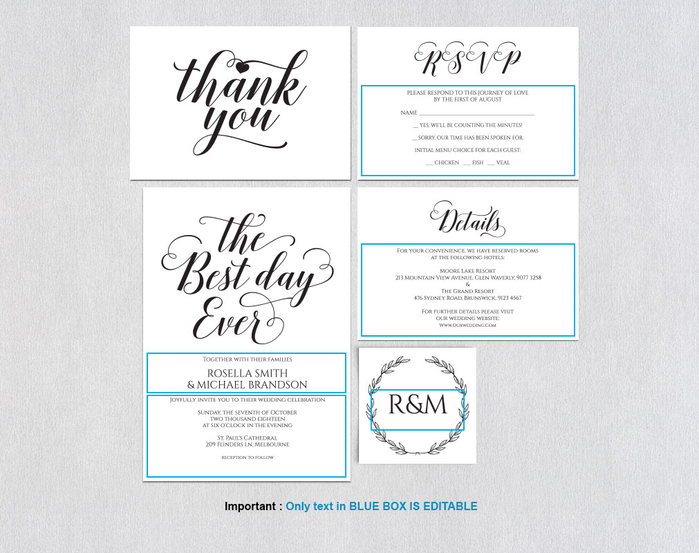 Wedding invitation set landscape, TOS_6 example image 4