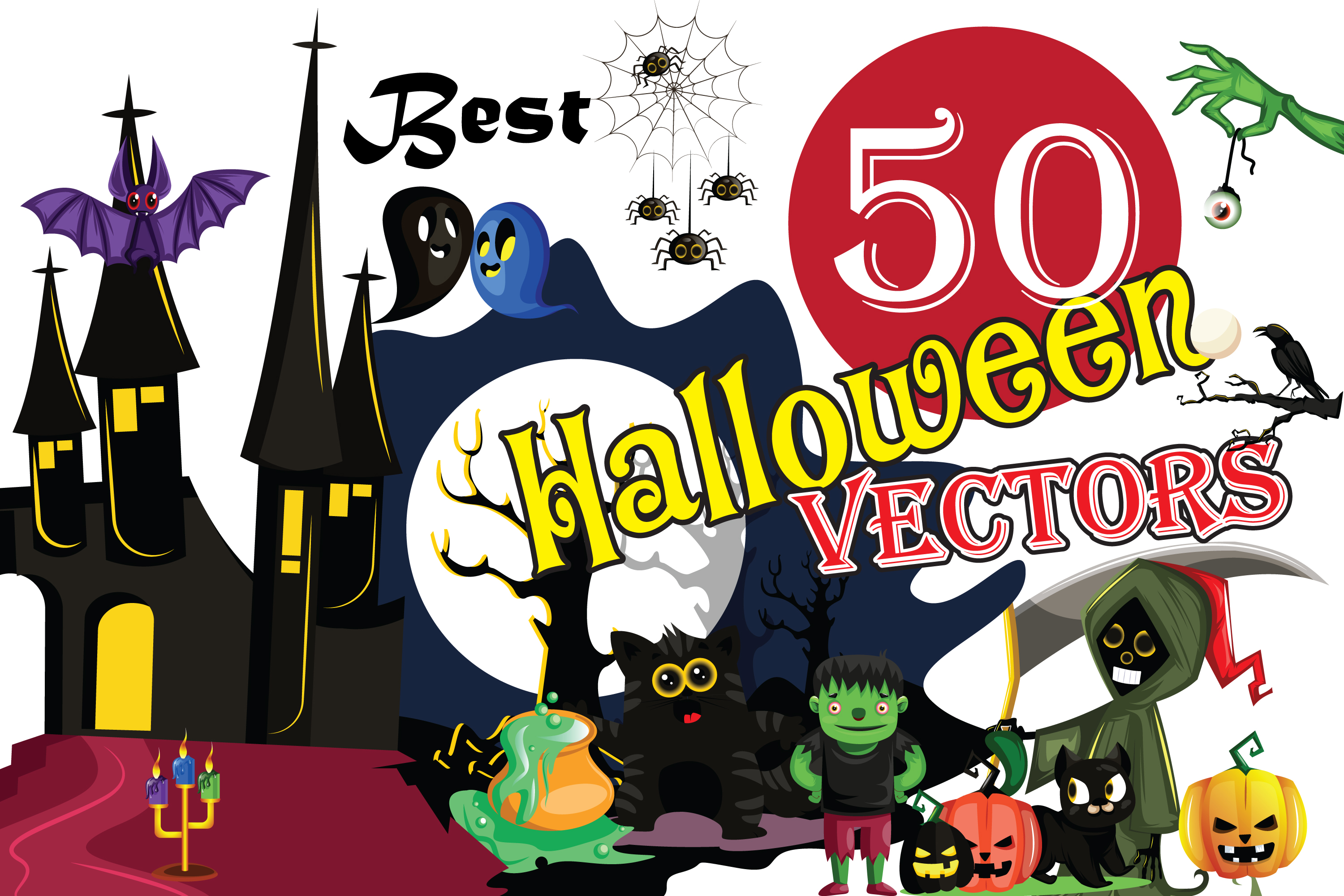 50x Halloween vectors and cartoon high quality illustrations example image 1