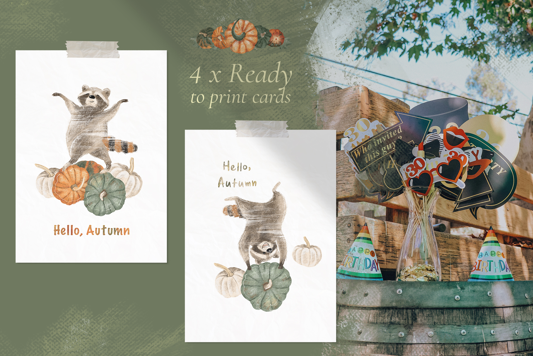 Ready to print autumn posters with cute raccoons and pumpkin example image 2