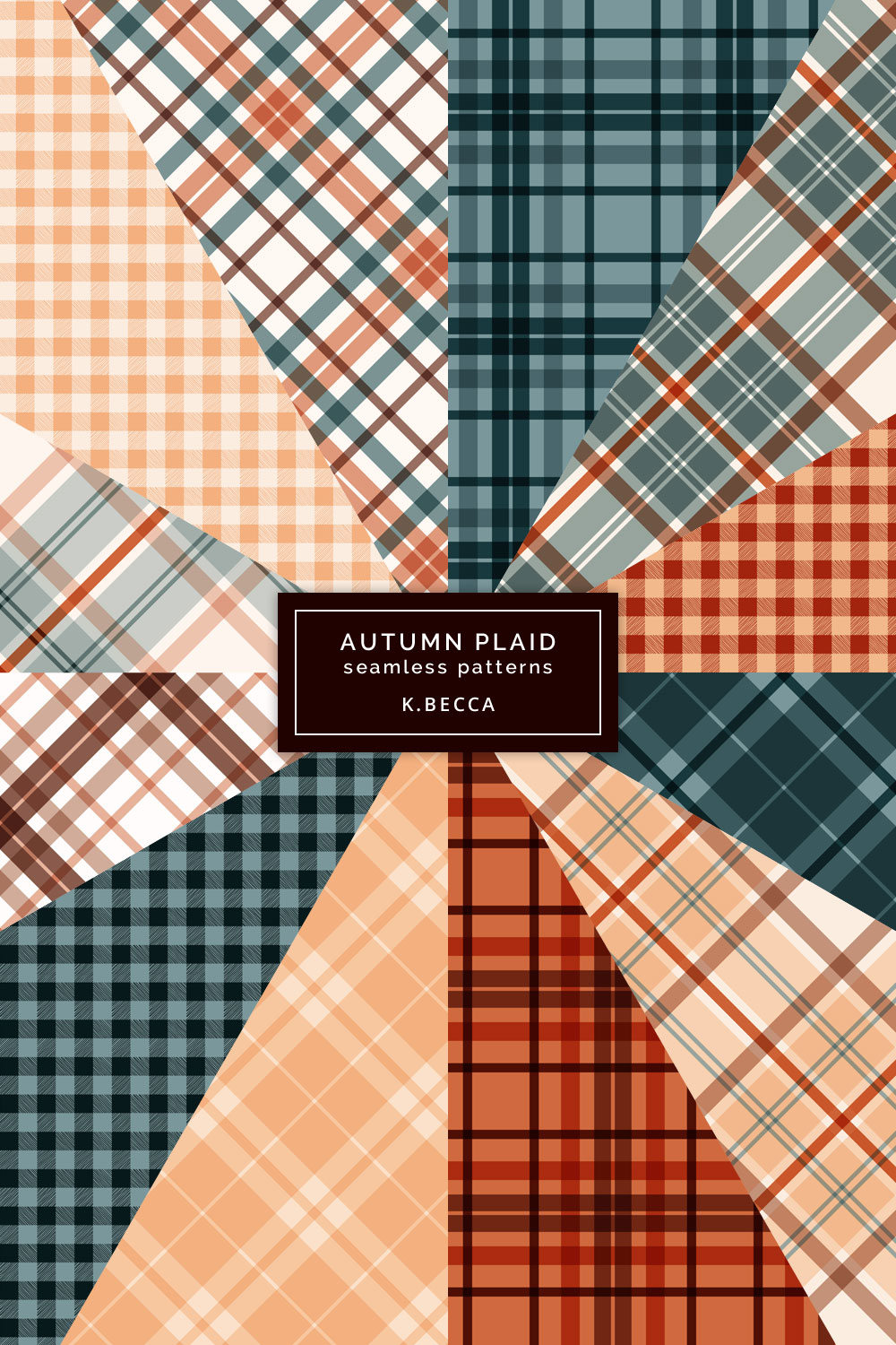 Autumn Fall Plaid Background Patterns Seamless example image 8