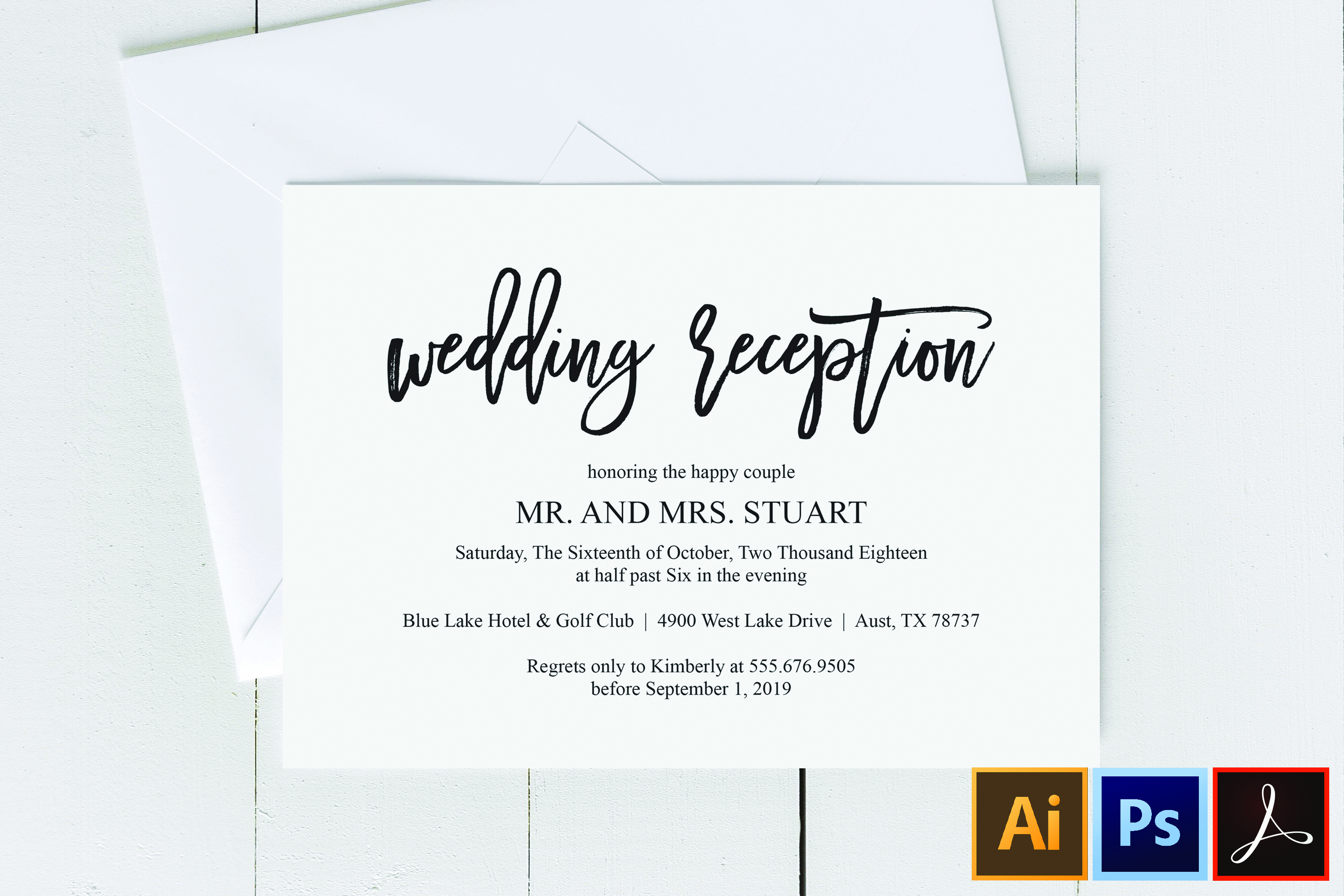 Wedding Reception Invitation Card Pdf Editable Template