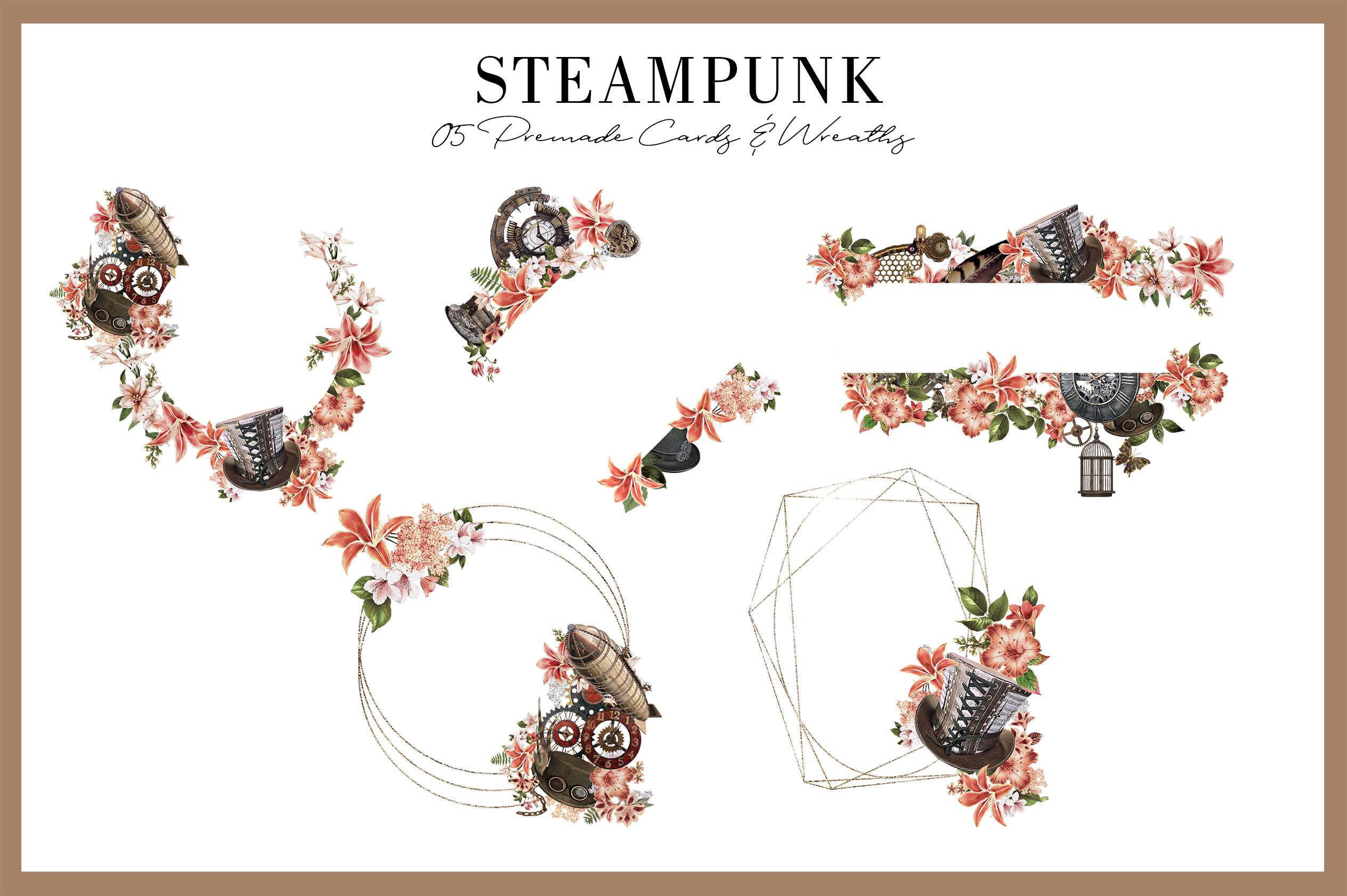 Steampunk |68 Elements in PNG example image 4