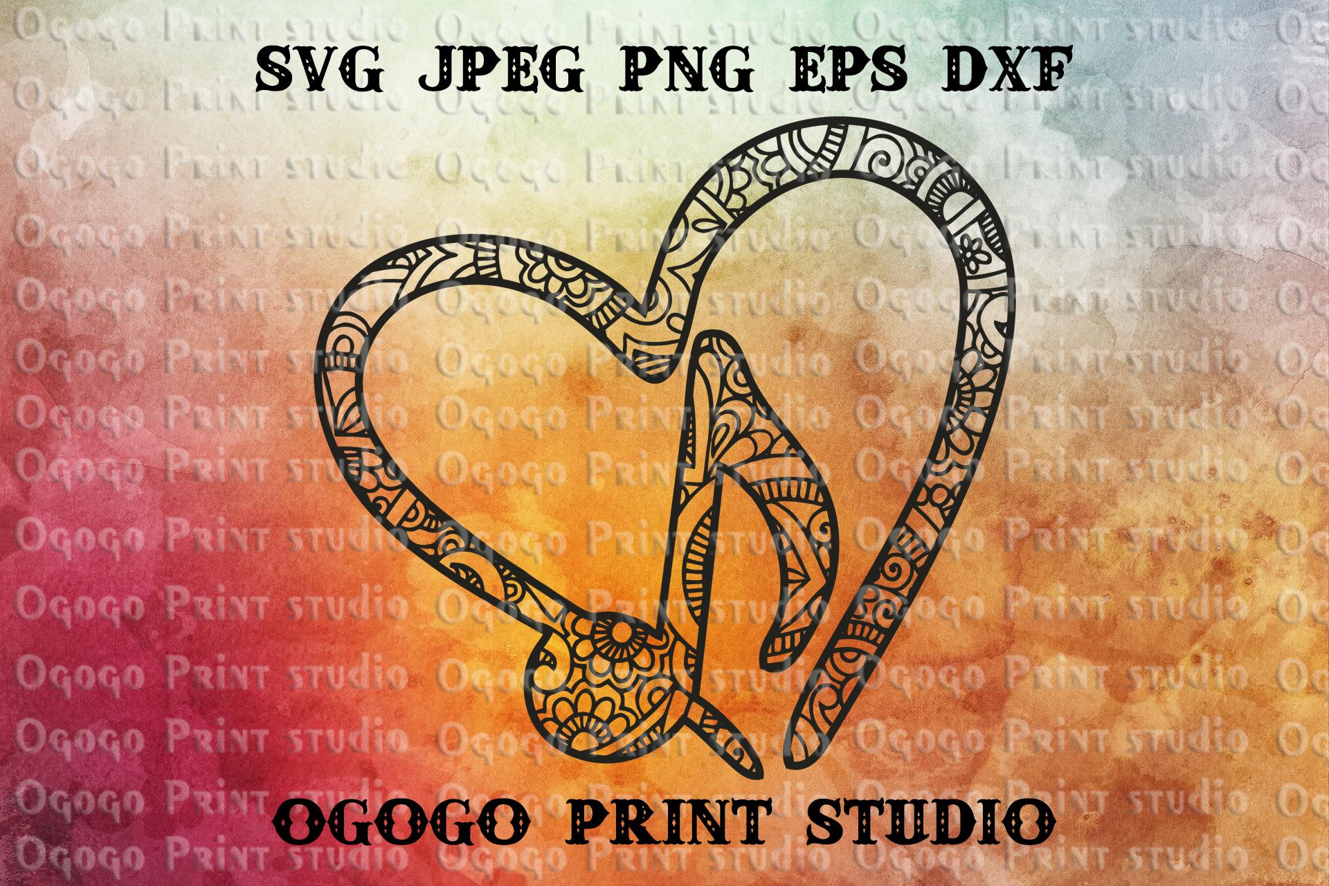 Music SVG, Mandala svg, Zentangle SVG, Heart SVG example image 1