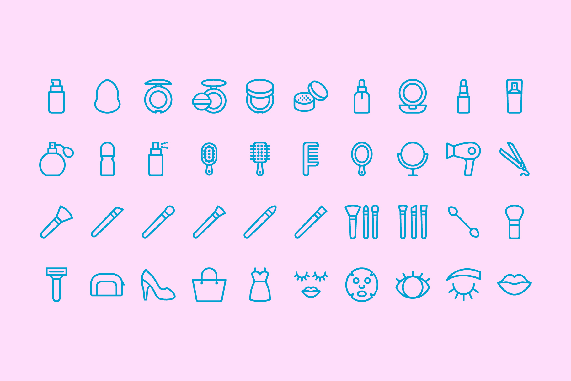 80 Beauty & Makeup Line Icons example image 7