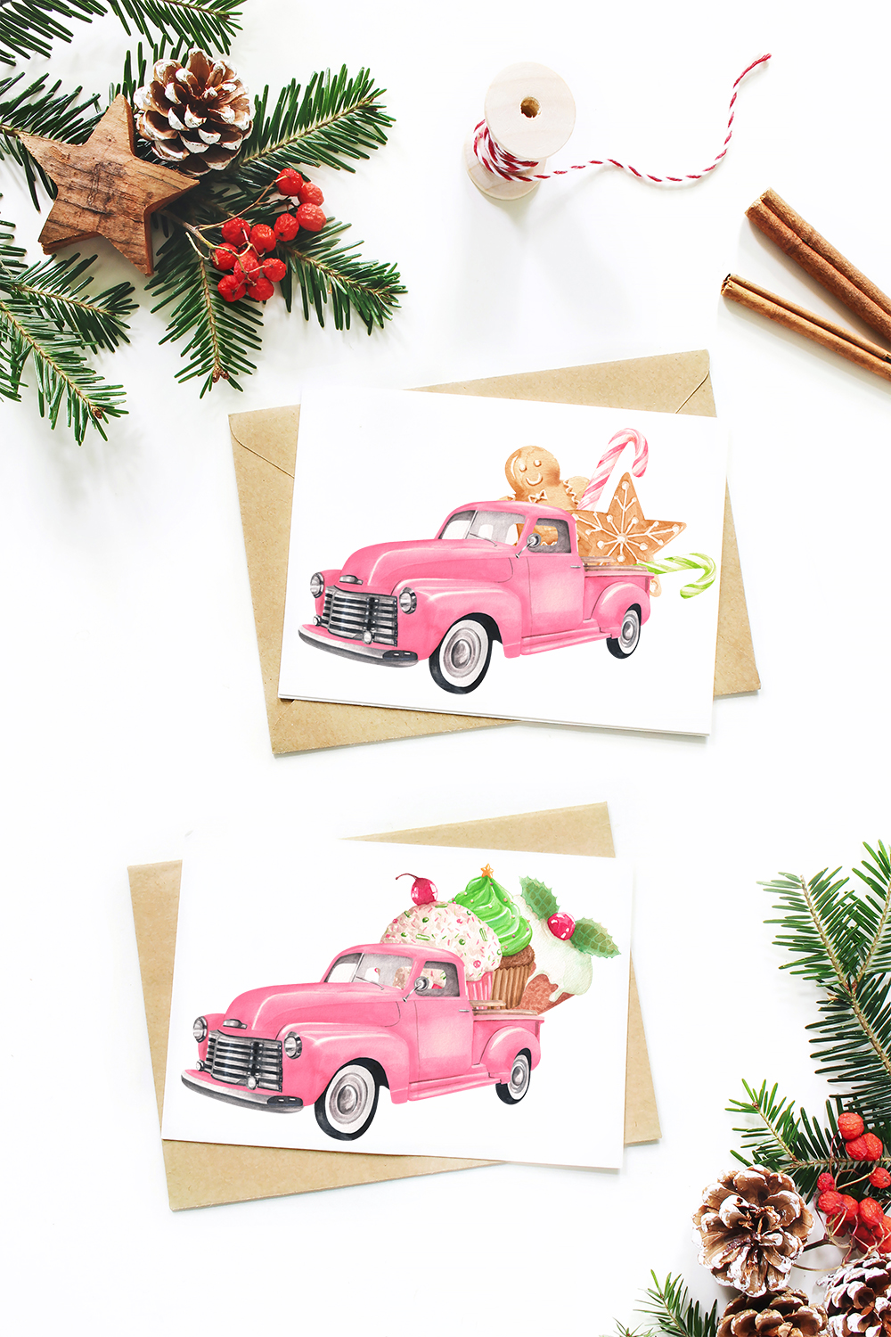 Watercolor Christmas pink pick-up cliparts example image 5