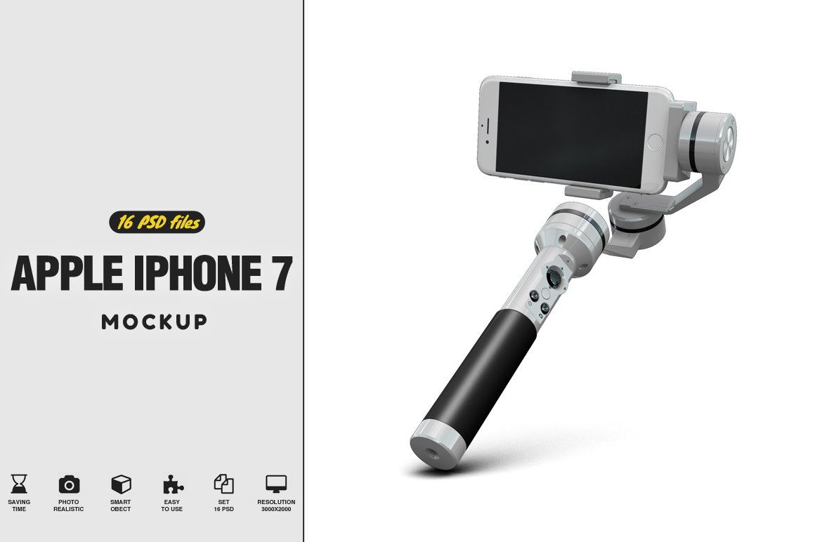 iPhone 7 with Selfie Stick Mockup example image 1