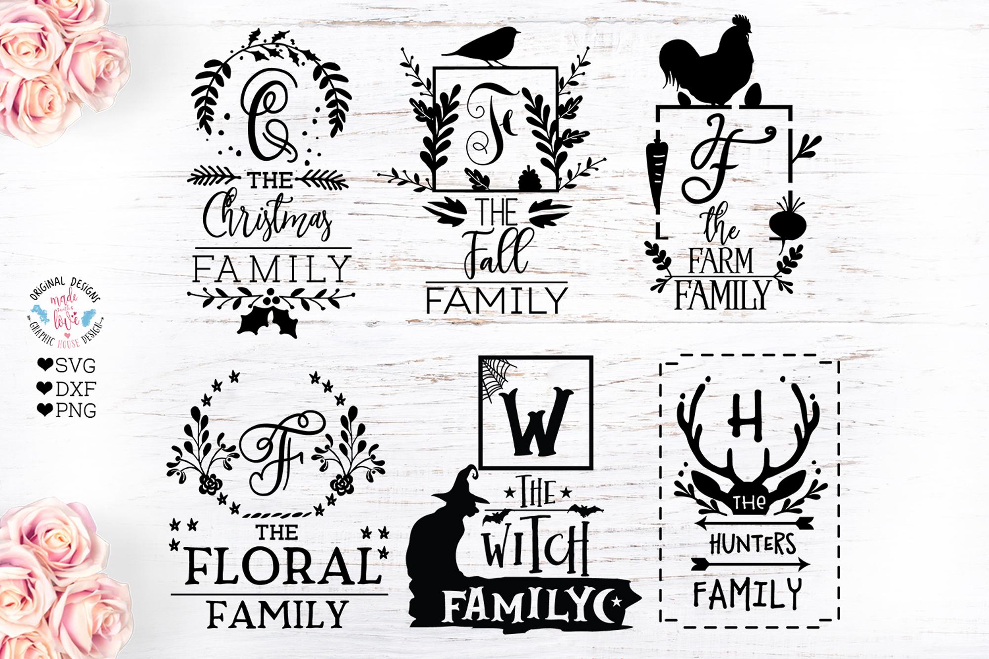 Family Name Monogram Frames Bundle SVG, DXF, EPS example image 1