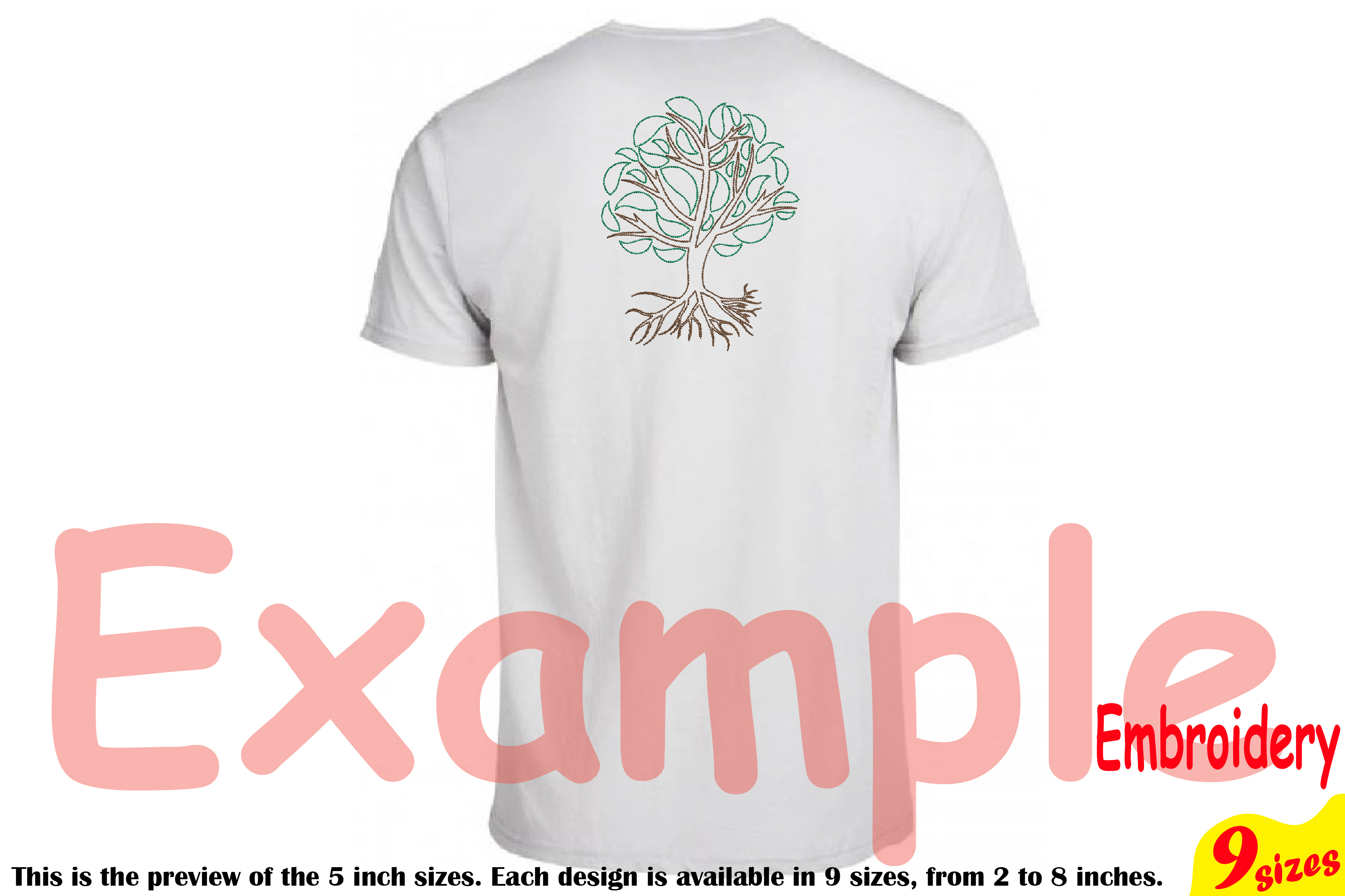 Family Tree Outline Embroidery Design Machine Instant Download Commercial Use digital Outline family love Deep Roots Branches 205b example image 2