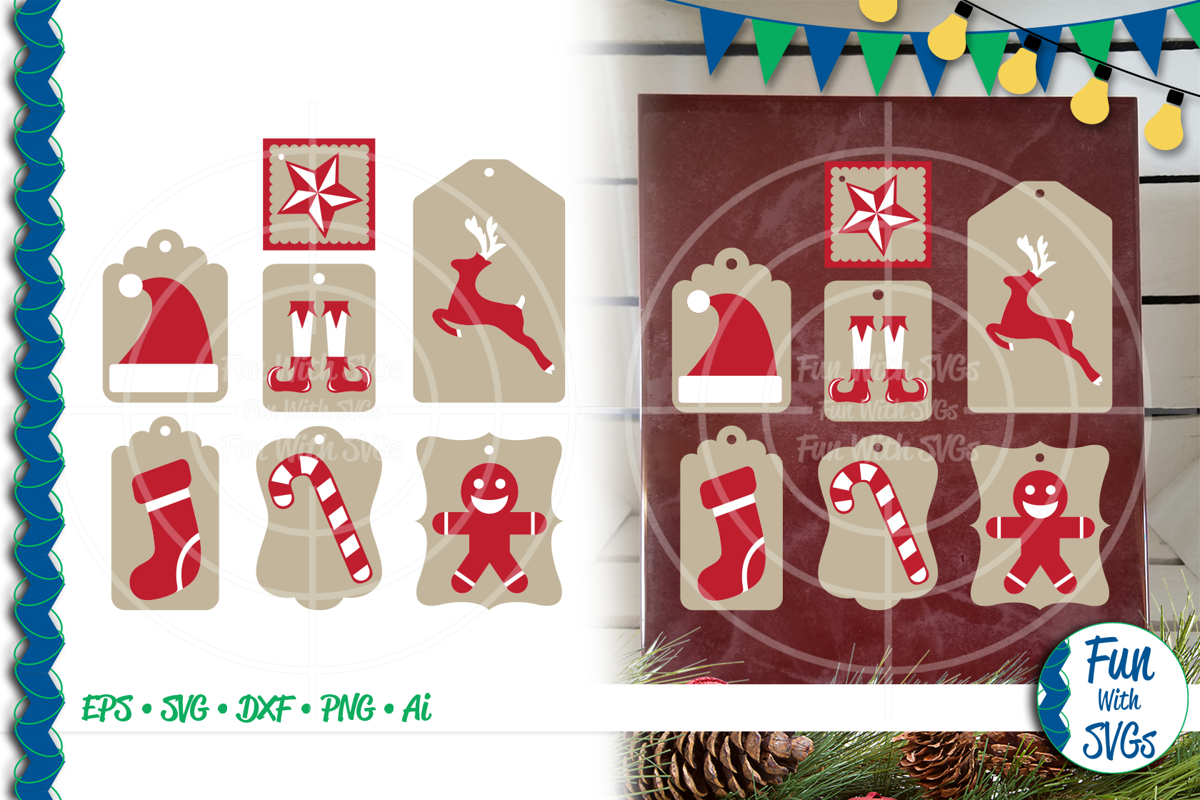 SVG Christmas Tags Red White, Cut File, Clip Art FWS465 example image 1