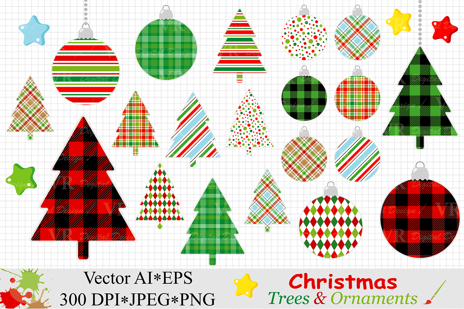 Christmas Trees And Ornaments Clipart