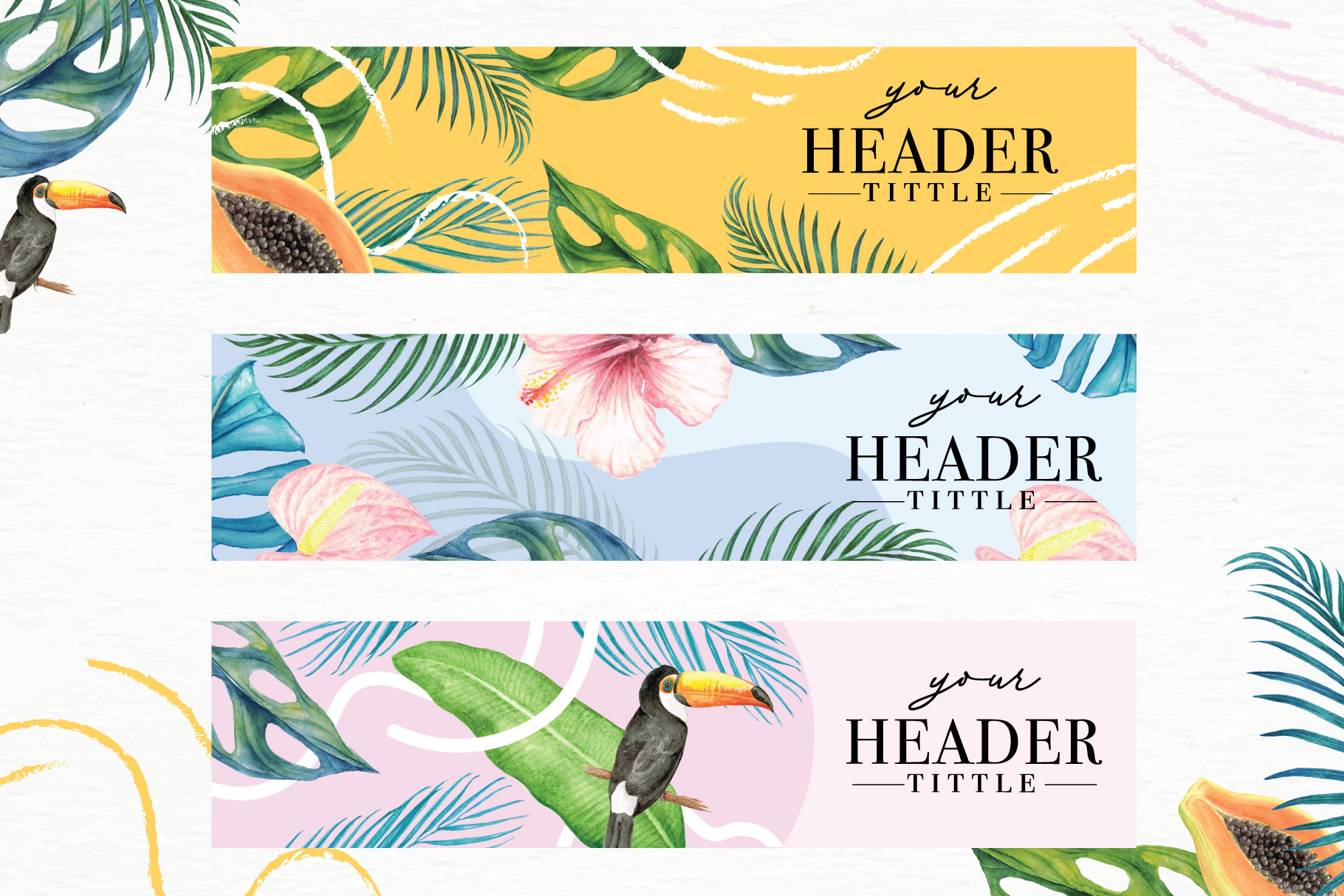 Tropical Collection - 65 Watercolor Elements example image 9