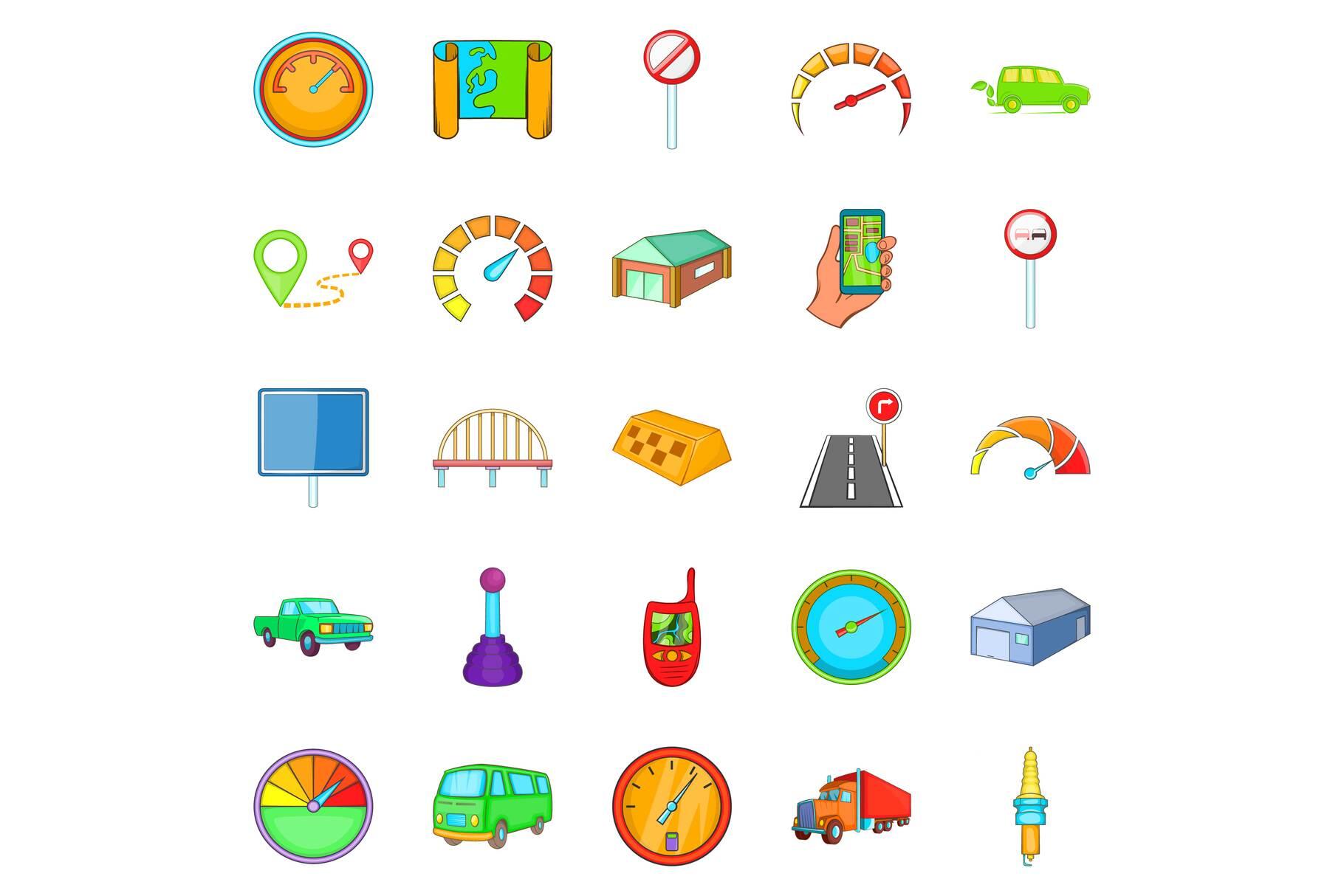 Vehicle icons set, cartoon style example image 1