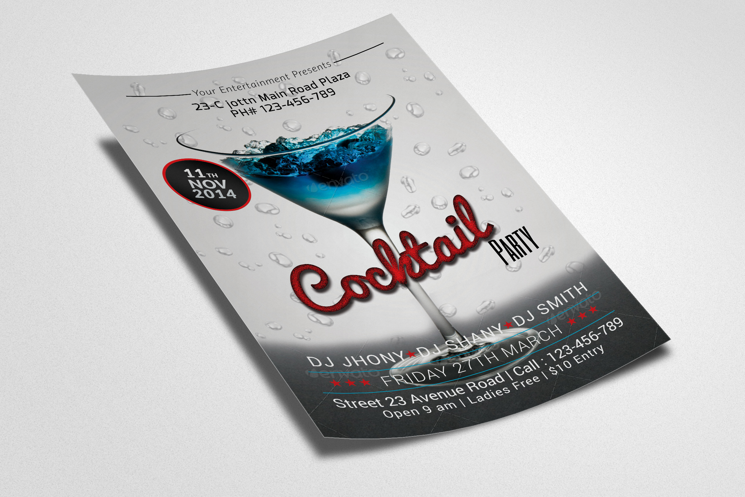 Cocktail Summer Party Flyers example image 2