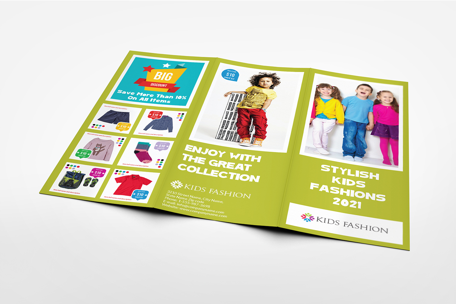 Kids Fashion Products Catalog Tri-Fold Brochure Tempalte example image 2