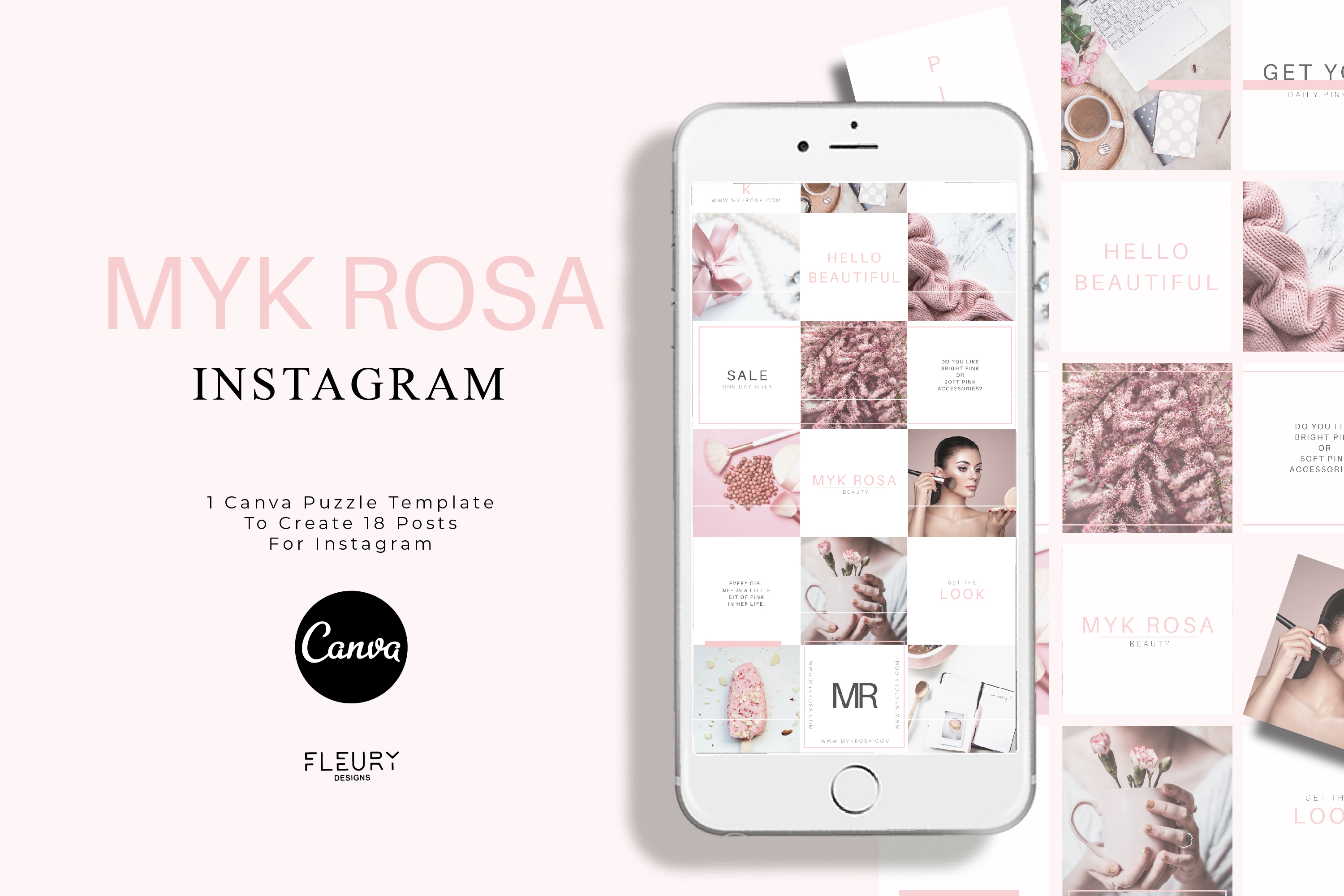 Instagram Puzzle Canva Template - Myk Rosa example image 1