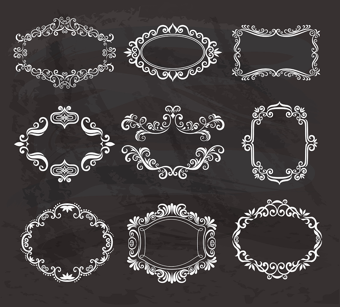 Set of vintage frames and monograms example image 14