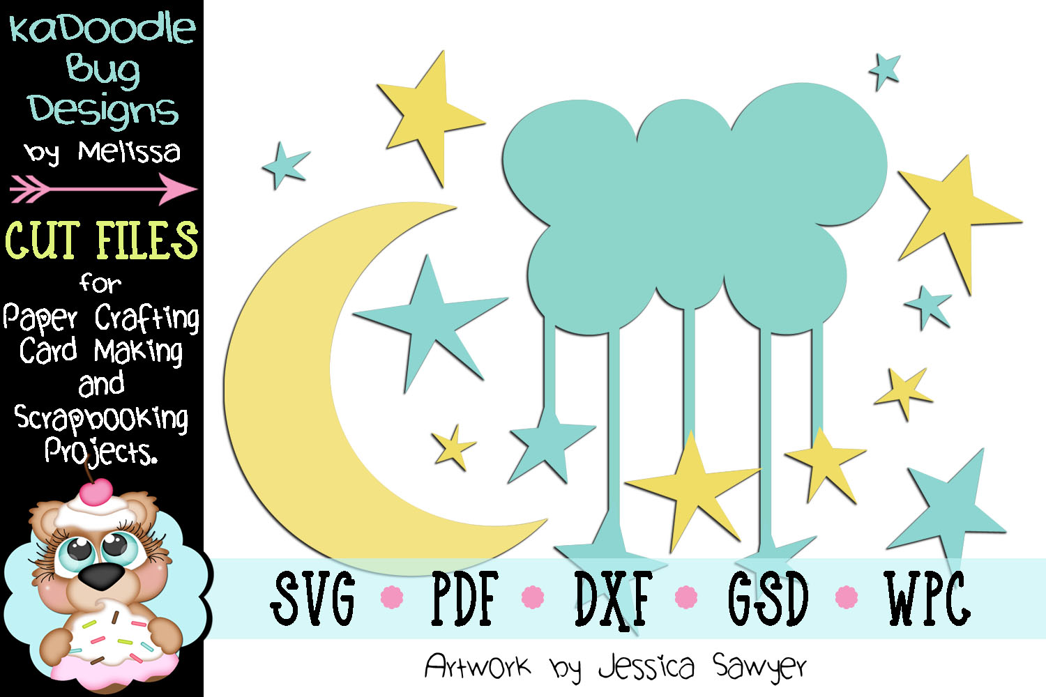 Moon and Stars Cut File - SVG PDF DXF GSD WPC example image 1