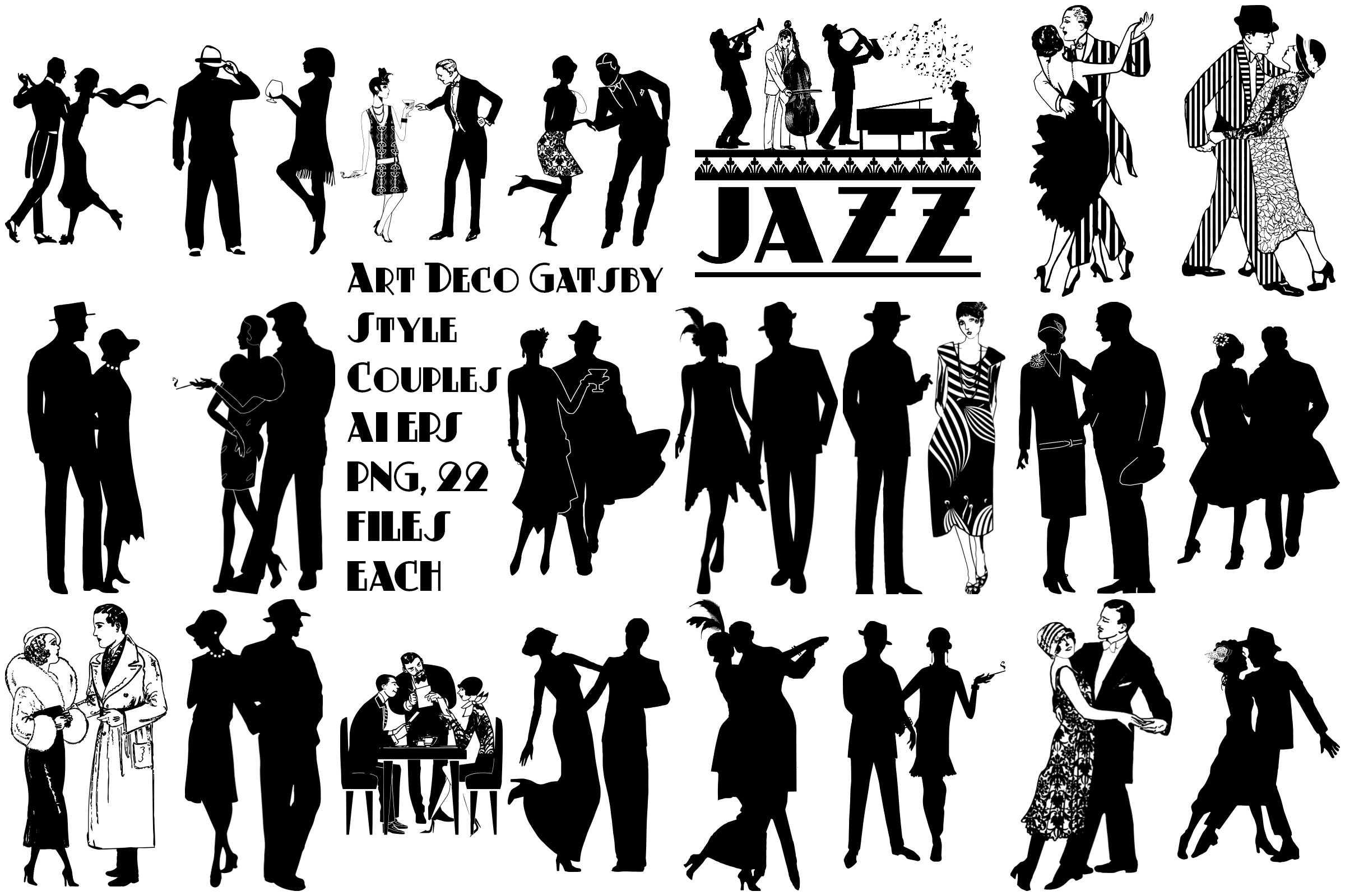 Art Deco Gatsby Jazz Style Couples AI EPS Vector & PNG example image 1