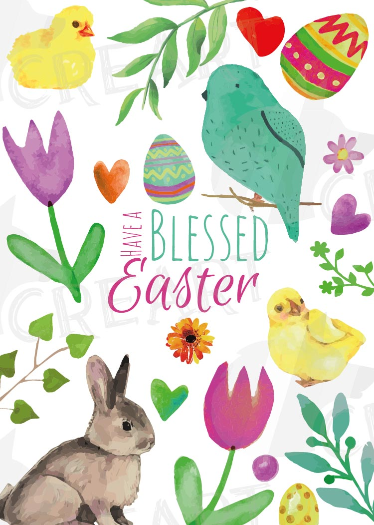 Easter greeting cards, 6 Happy Easter cards, colorful cards example image 7