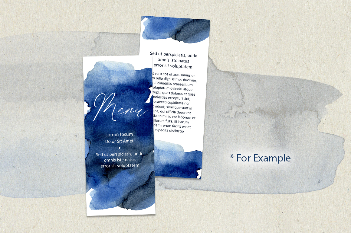 Navy Blue Watercolor Stains Splashes PNG example image 3
