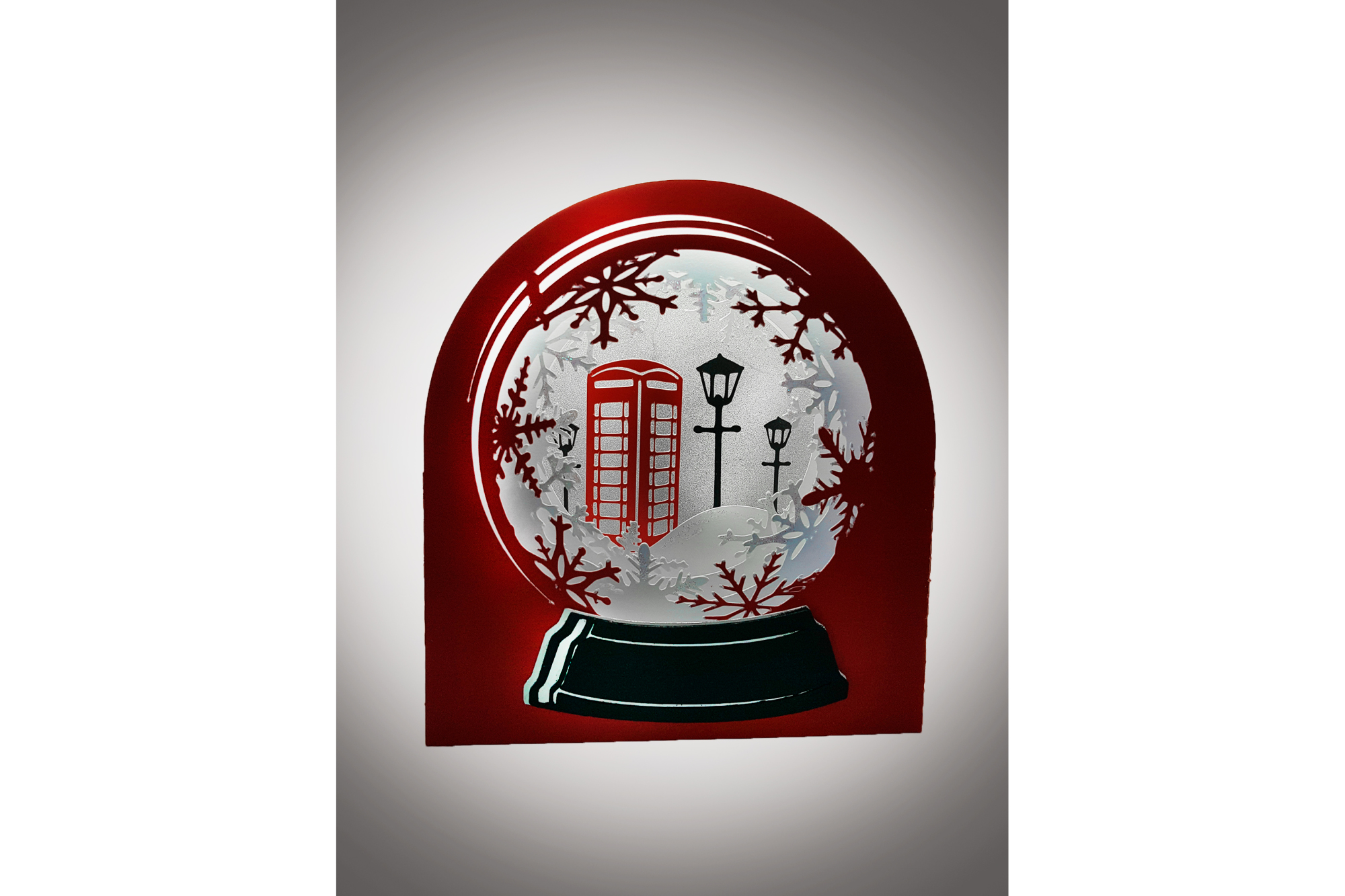 3D Snow Globe Classic Red Telephone Box greetings card example image 2