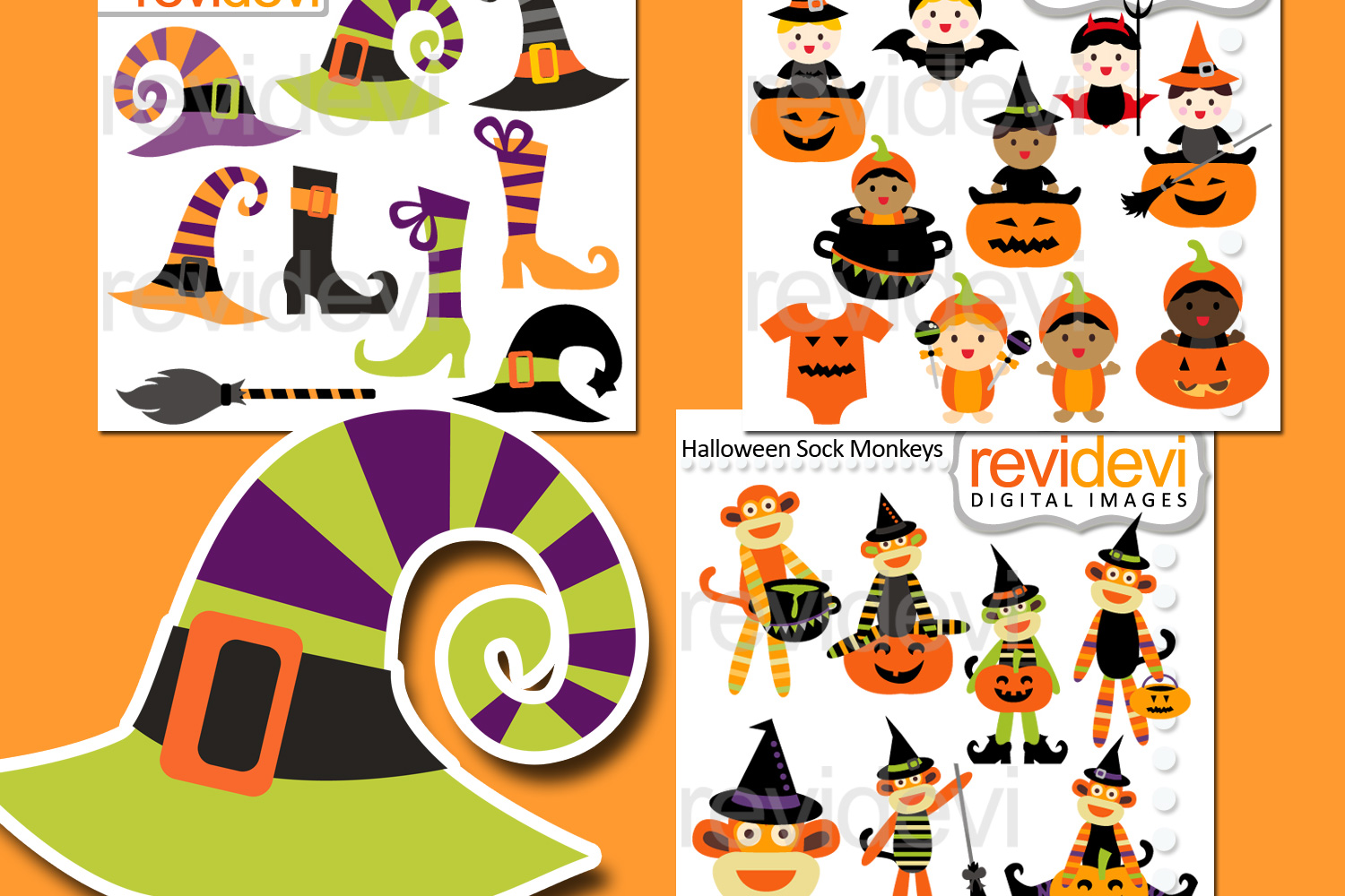 halloween clipart bundle (baby, sock monkey, witch hats, boots)
