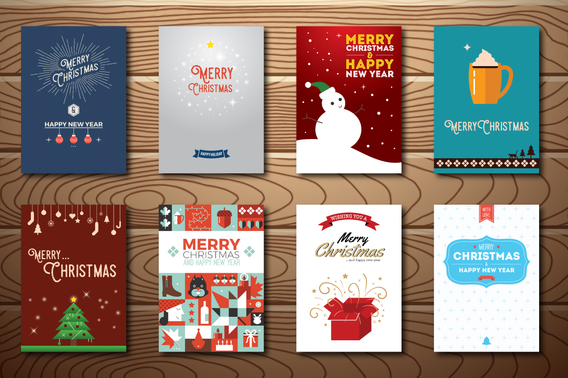20 Christmas & New Year Cards Template AI, PS example image 3