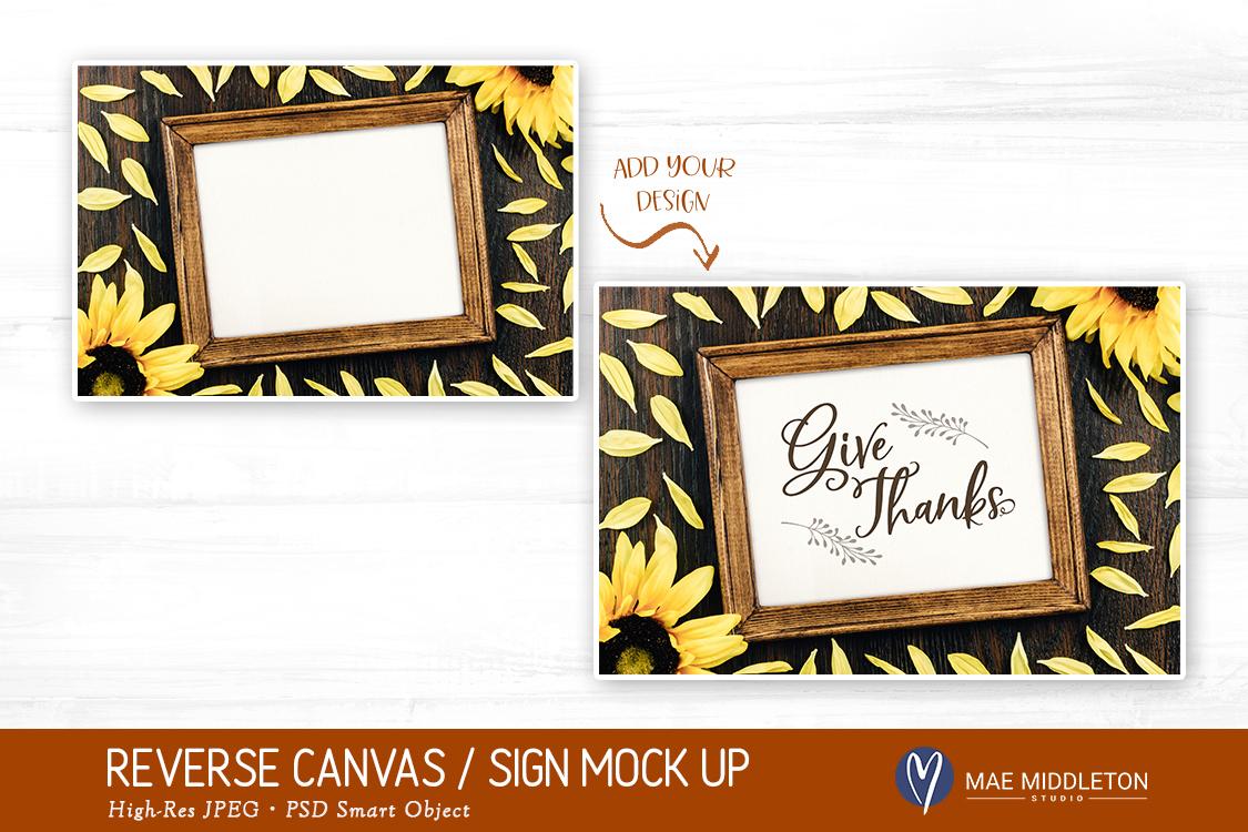 Reverse Canvas / Framed Wood Sign Mock up - JPEG & PSD example image 2