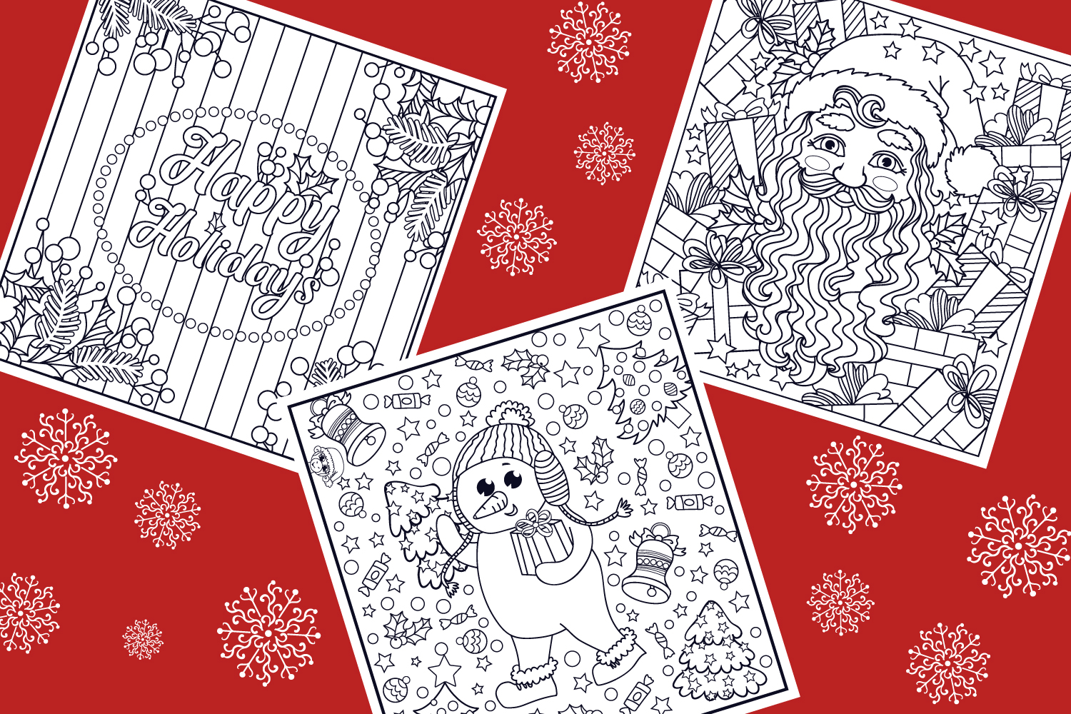 Christmas Coloring Pages- 9 vector items example image 3