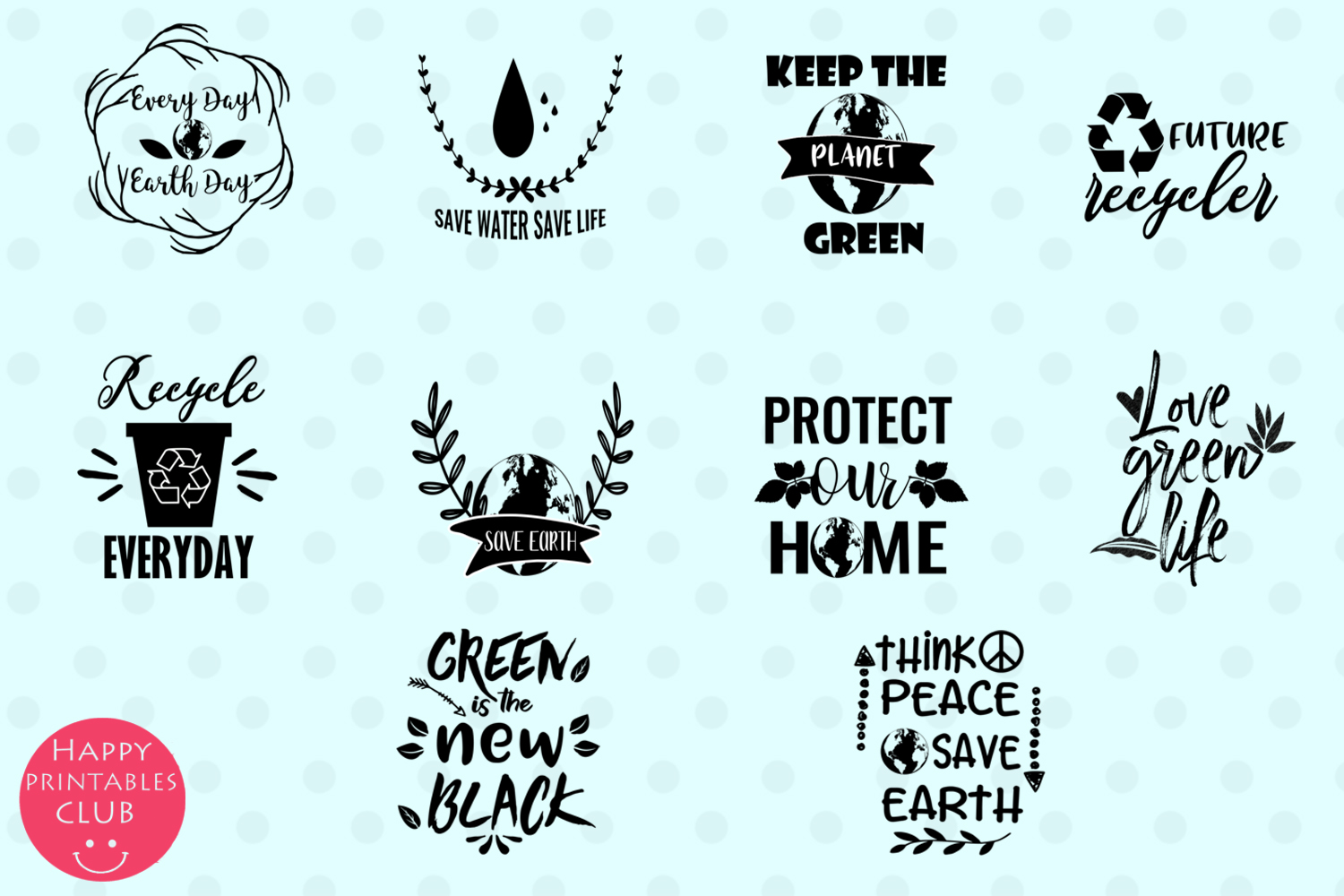 Earth Day Text Clipart- Earth Day Clipart Overlays example image 2