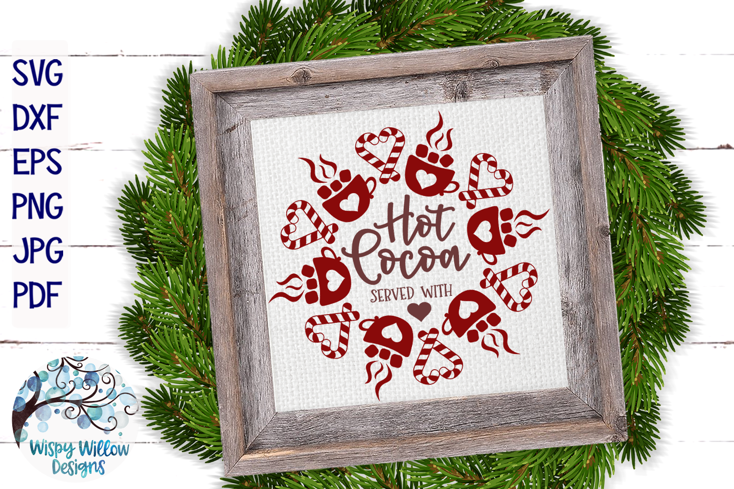 Hot Cocoa Served With Love SVG   Winter Sign SVG Cut File example image 1