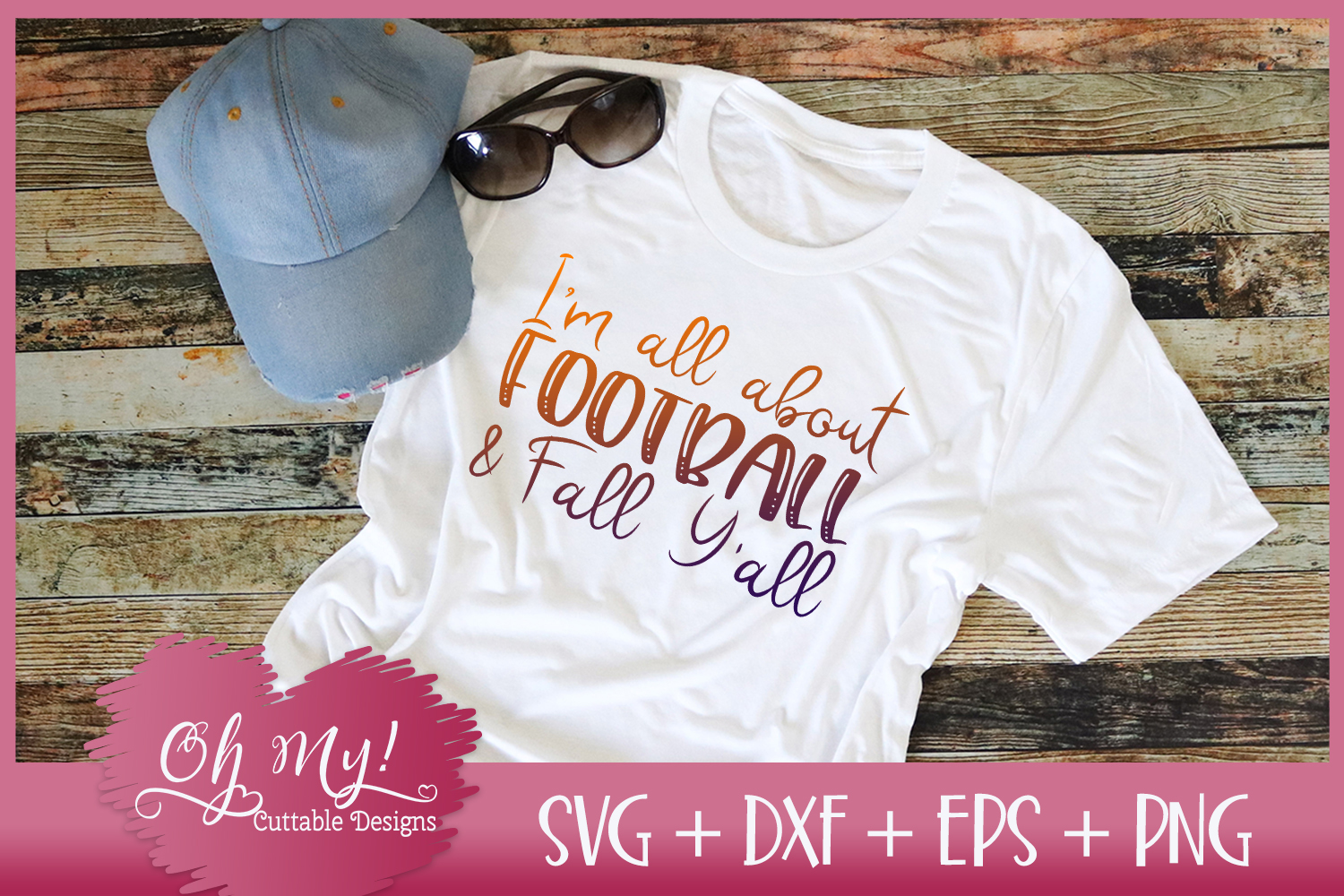 I'm All About Football And Fall Y'all - SVG DXF EPS PNG example image 2