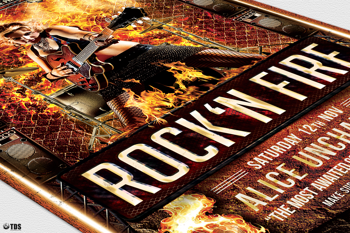 Rock'N Fire Live Flyer Template example image 6