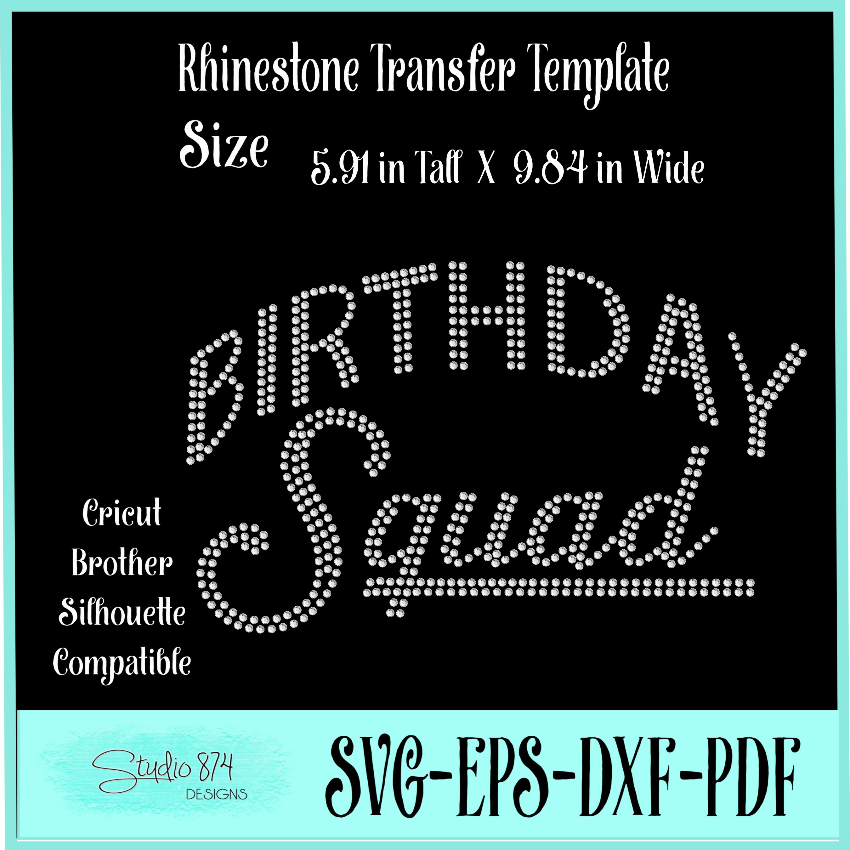 Birthday Squad - Rhinestone SVG Template example image 3