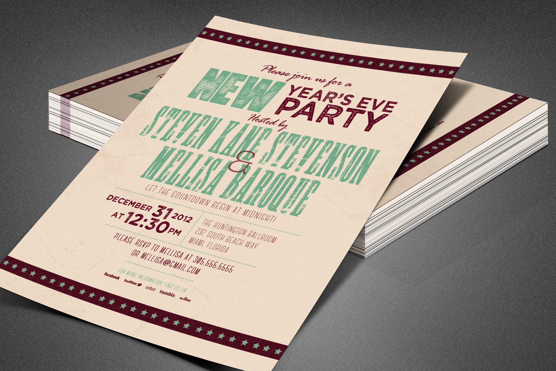 Retro New Year Party Invite Card Template example image 6
