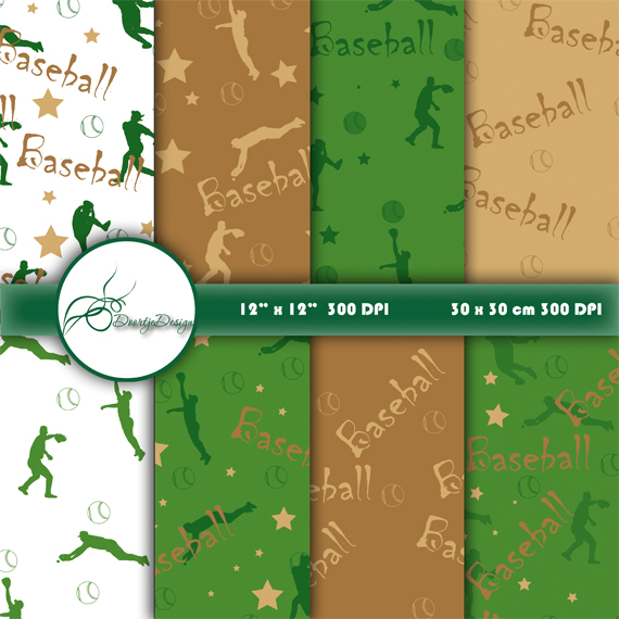 Sports Baseball Digital Papers example image 1