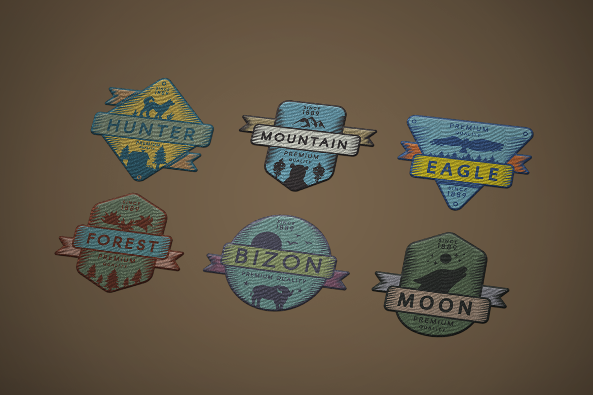 Vintage Colored Adventure Badges Pack example image 2