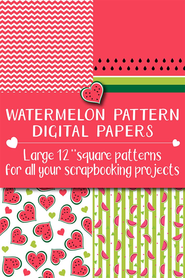 12 Summer Watermelon Fruit Patterns Digital Papers Bundle example image 5