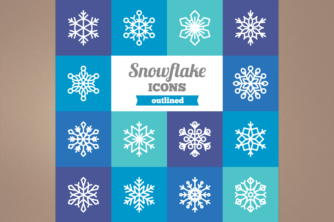 Outlined Snowflake Icons example image 1