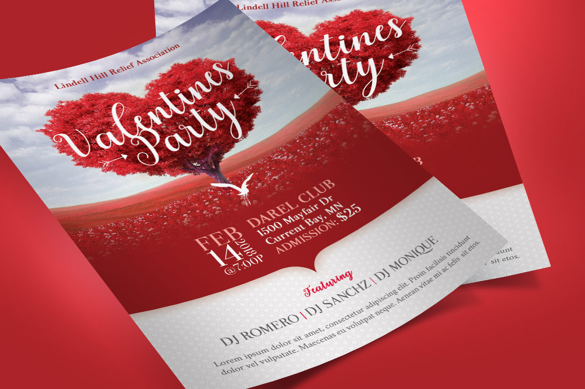 Tree Heart Valentines Party Flyer Template example image 1