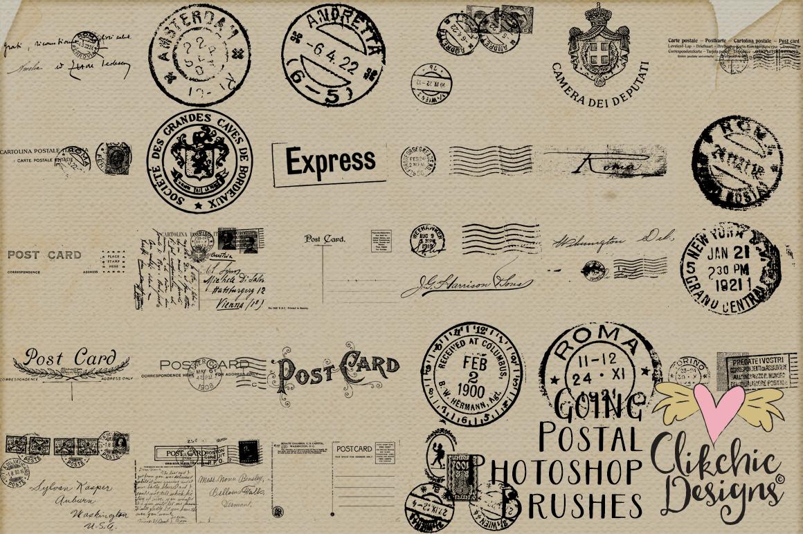 Going Postal Vintage Postage Marks Photoshop Brushes example image 2