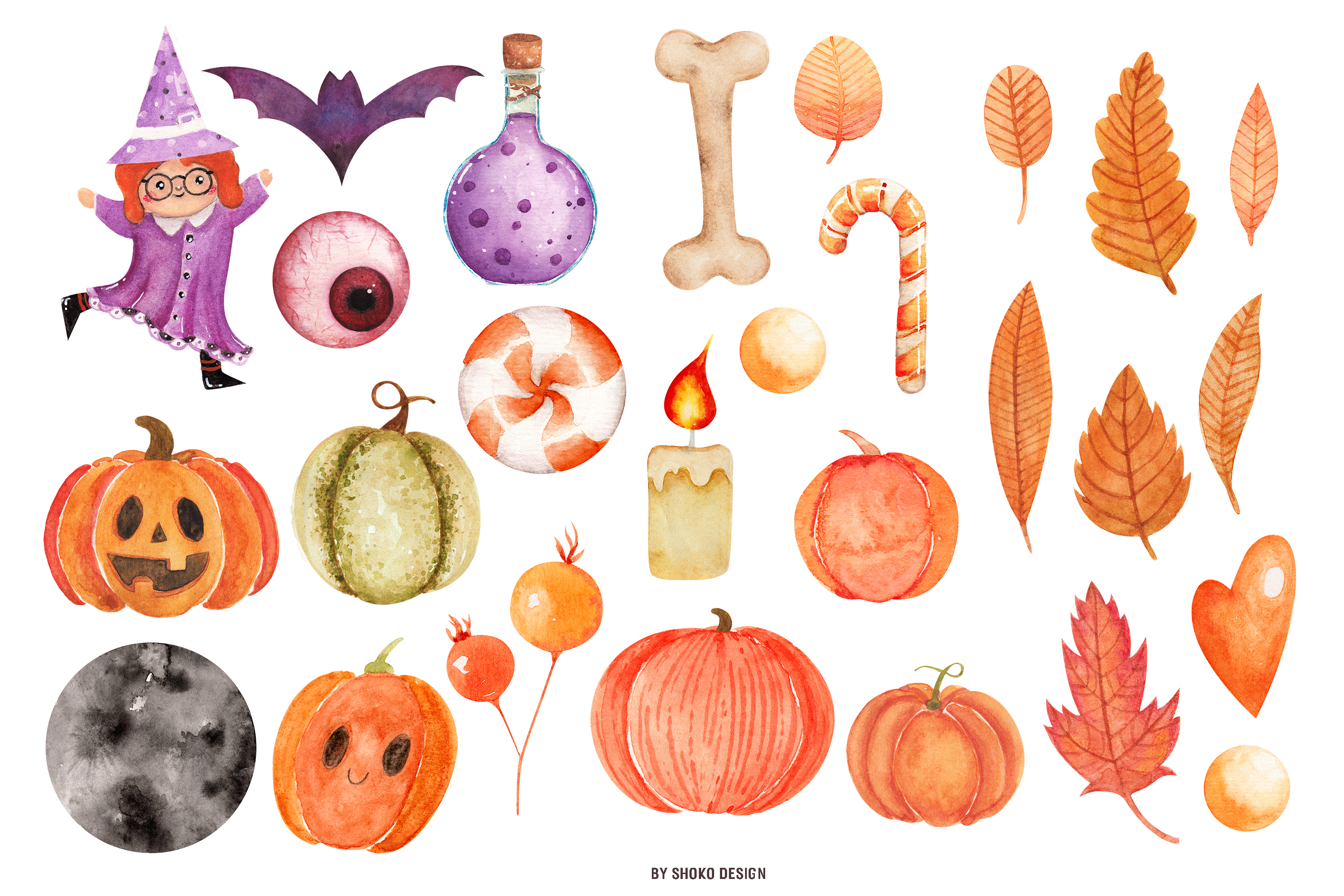 Hand painted Watercolor Halloween Party Fall Set pumpkins example image 2