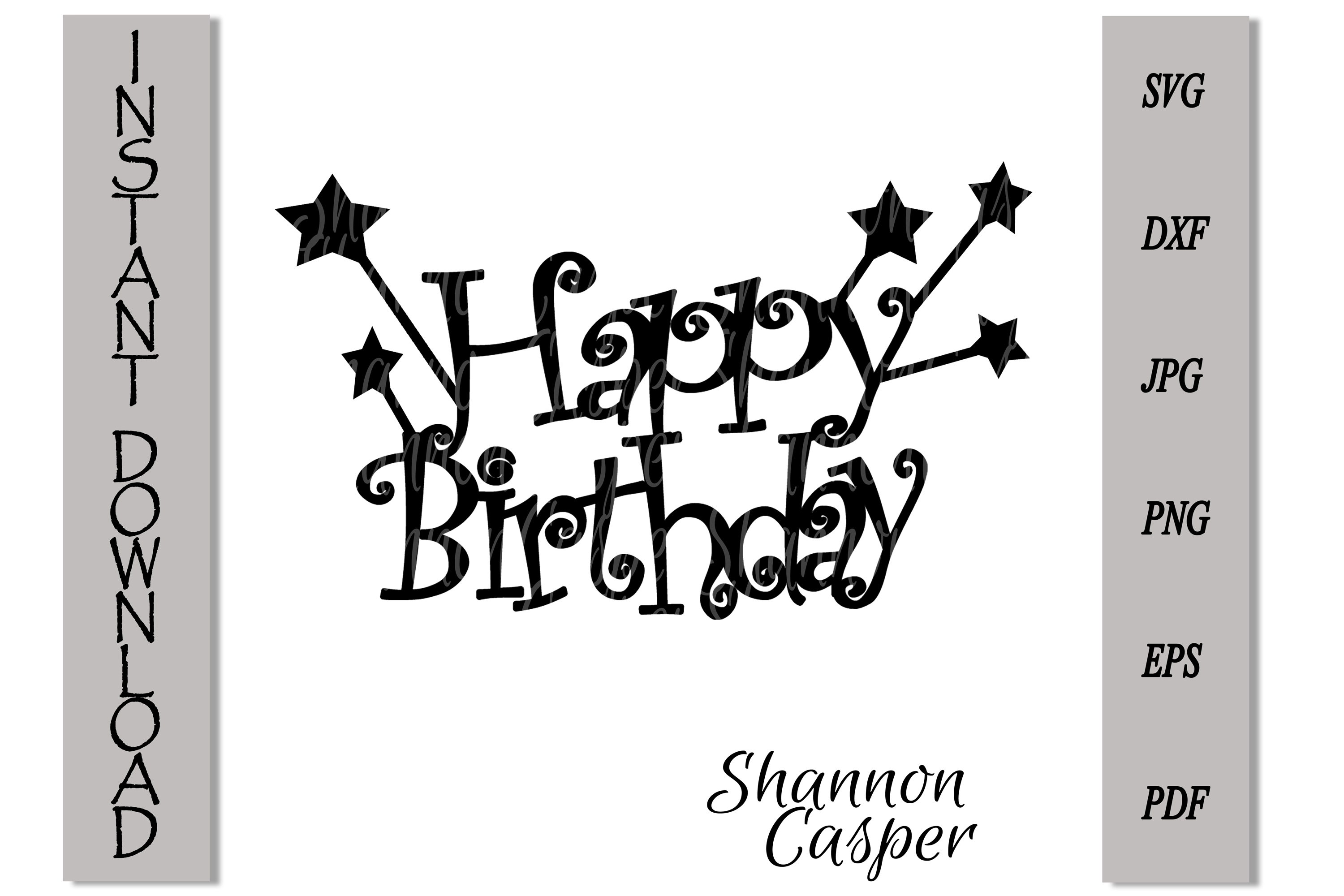 Happy Birthday Cake Topper with Stars example image 3